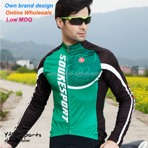 Wholesale small quantity order Own brand bike clothes long sleeve mens cycling jerseys