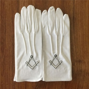 Custom Made Embroidery Logo Masonic Cotton Gloves