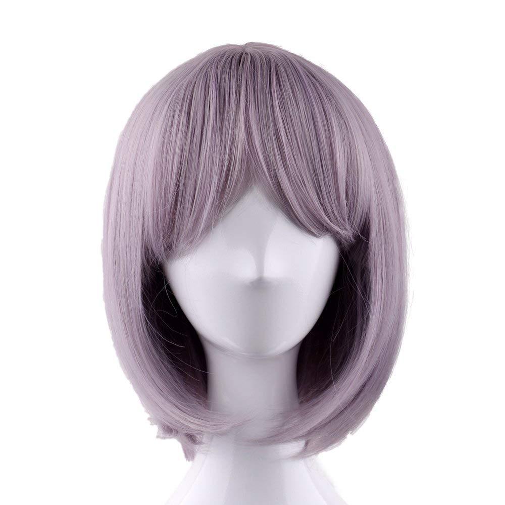 OUO HAIR Wig Fashion Wig Short straight Taro Color Light Purple Wig Fiber wig (Taro Color Vanilla Color)