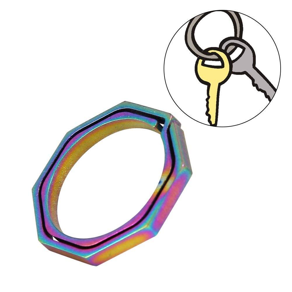 VGEBY Haning Buckle Keychain Titanium Alloy Quickdraw Octagonal Ring Key Chain