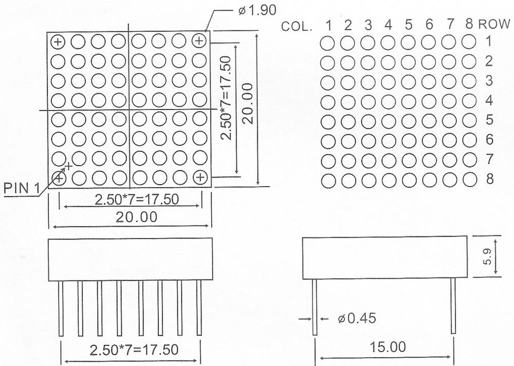 mini size blue led matrix 8 8 display 8x8 dot matrix