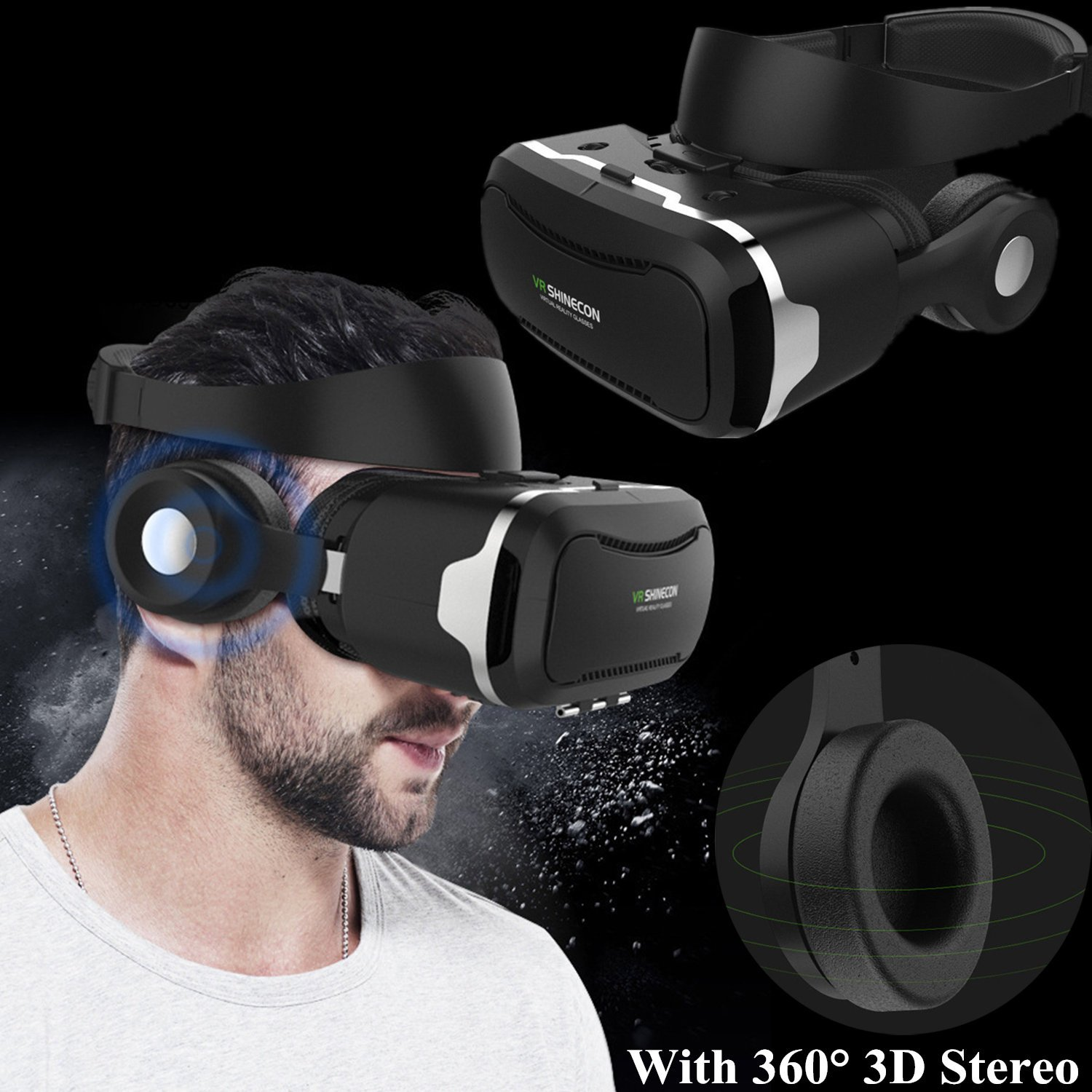 "3D Virtual Reality Headset, Tsanglight VR Headset/Glasses with Built-in 3D Headphones for 4.5-6.0"" Android/IOS for Samsung Galaxy S7 Edge S6, iPhone 7 6 6S Plus etc"