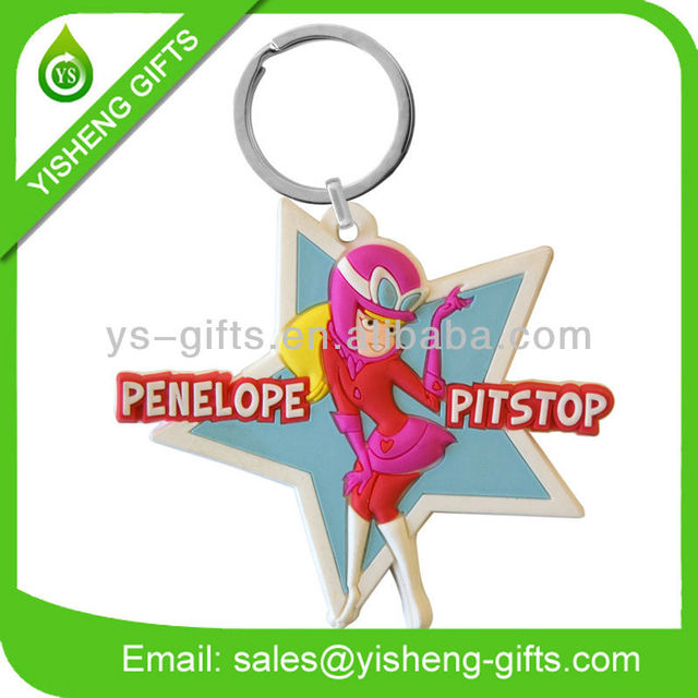Start Shape Rubber PVC keychains for woman london keychain