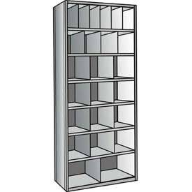 "Hallowell A5534-24-HG Hi-Tech Closed Metal Bin Shelving, Adder Type, (6) 6"" x 12"", (4) 9"" x 12"", (12) 12"" x 12"", (2) 18"" x 12"" Opening Size, 24"" Shelf Depth, Hallowell Gray"