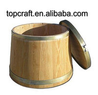 garden wooden bucket with natural color