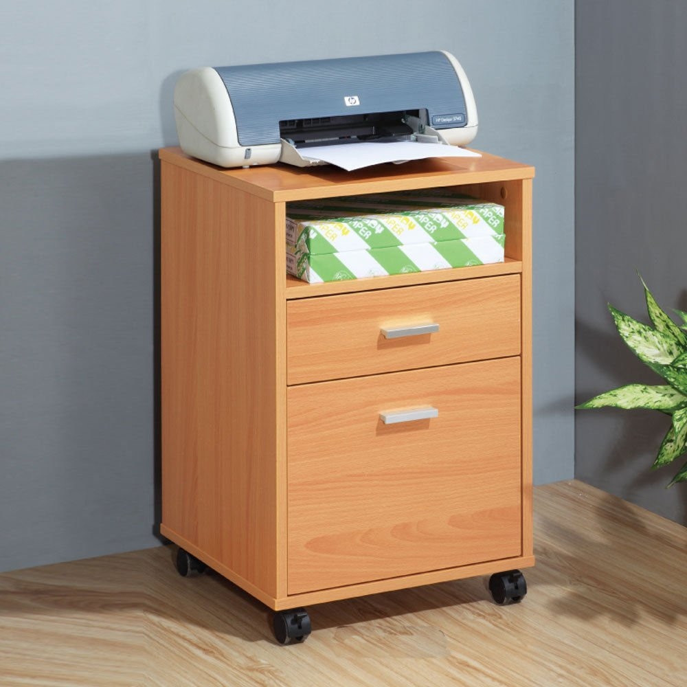 Get Quotations · 1PerfectChoice Home Office Mobile File Cabinet Storage Furniture 2 Drawers 1 Shelf Wood Beech & Cheap Beech Dvd Storage Unit find Beech Dvd Storage Unit deals on ...