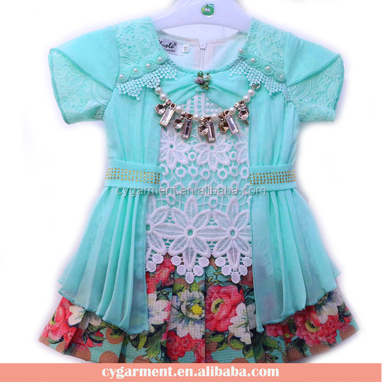 Sweet Ruffle Beaded Kid Baby Clothes Dress Set Girls Frock Suit