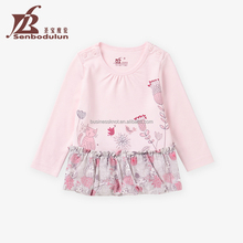 Senbodulun OEM Customized Wholesale Baby Clothes Girls 100% Cotton O-neck T-shirt for Spring & Autumn