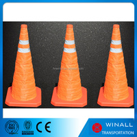 Orange color removeable collapsible traffic barricades road safety warning cones