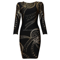 long sleeve mini prom plus size one piece dress latest for fat women