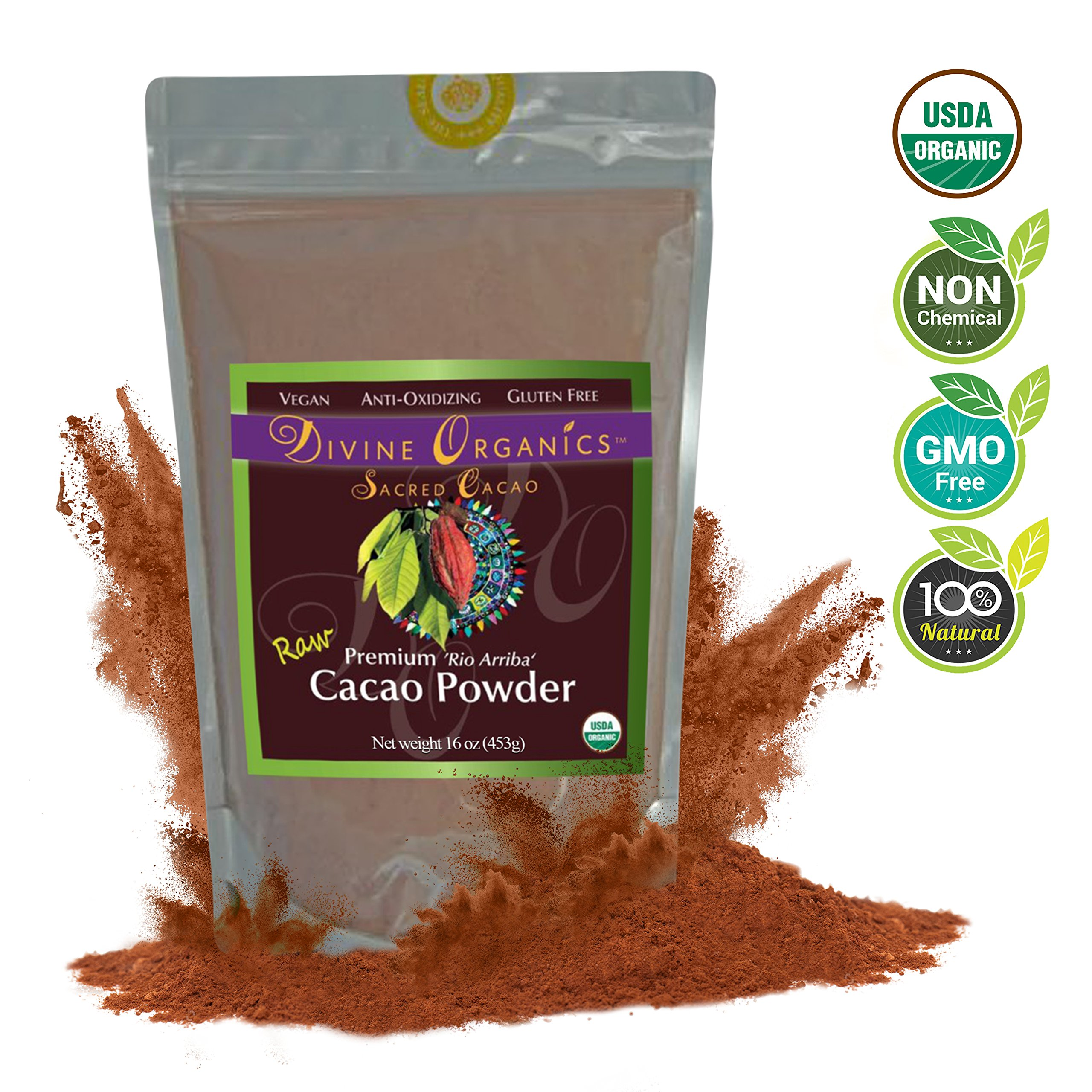 Divine Organics Raw Cacao Powder / Raw Cocoa Powder - Certified Organic - Premium Rio Arriba - Smoothies, Hot Chocolate, Baking, Shakes, Add to Coffee - Rich in Magnesium (16oz)