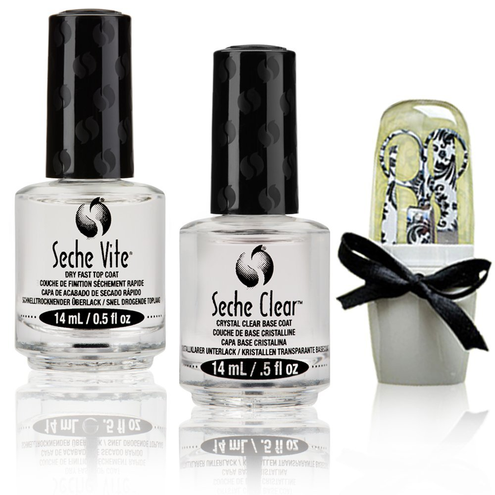Seche Vite Value Pack - Seche Vite Dry Fast Top Nail Coat (0.5 oz), Seche Clear Base Nail Coat (0.5 oz), Damask Design Manicure Set