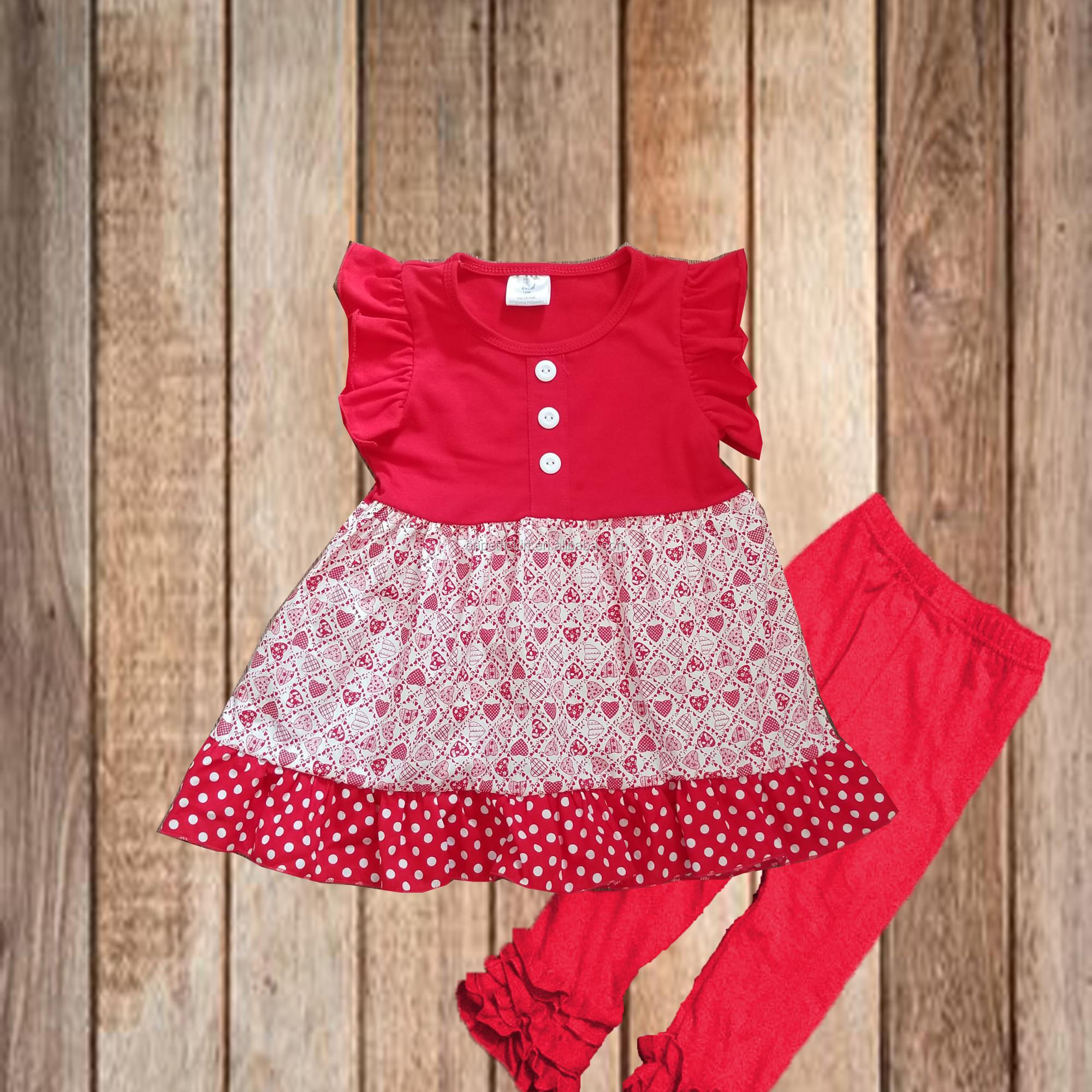 706dea5d4 2018 Valentine's day pretty frock design best selling hot heart print  princess dress fashion boutique baby