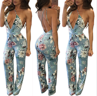factory wholesale Good price lady Summer fashion casual plus size Holiday beach bandage sexy printing women jumpsuits Dresses