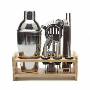 2018 New Products Stainless Steel Martini Bar Set Cocktail Shaker Set with Wooden Stand
