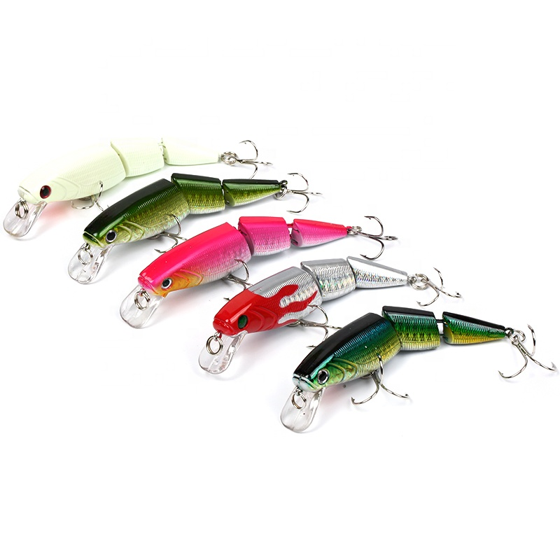 11cm16g artificial fishing bait hard minnow fishing lure 3 sections jointed lure, Five