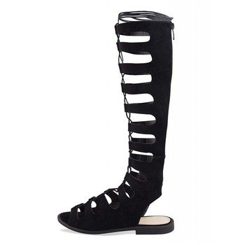 acb9ec27bc79 Sexy Roman Lace Up Flat heel Sandals Knee High Gladiator Ladies Sandals