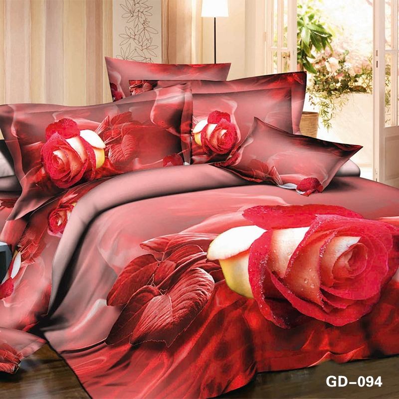 Stunning Red and Yellow Rose 3D Bed Set 3D Pink Red Rose egyptian cotton bedding
