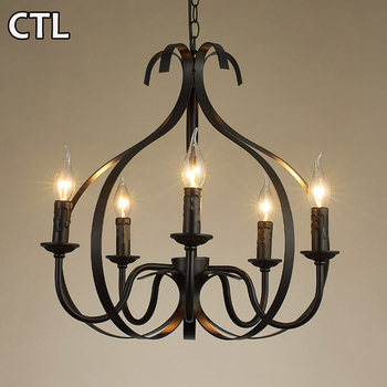 Zhongshan retro black iron decorative pendant lights american vintage E14 chandelier