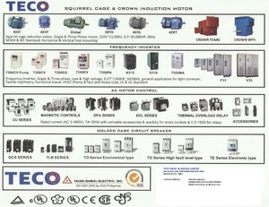 TECO Electric Motor, Variable Frequency Drive(VFD), Moulded Case Circuit  Breaker, Magnetic Contactor
