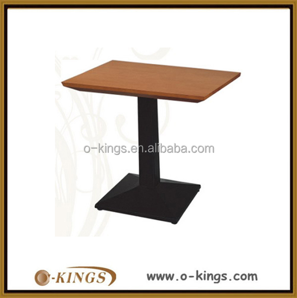 Restaurant small metal base mdf dining table for 2 person