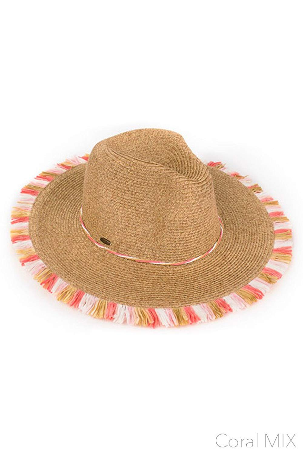 Get Quotations · ScarvesMe C.C Multi Color Fringe Natural Spring Summer  Straw Beach Wide Brim Sun Hat 6bab838acc03