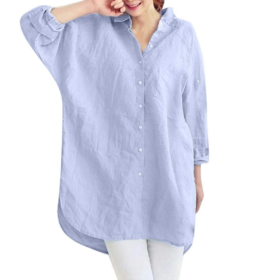 89672e9357d52 Women Blouse Daoroka Cotton Linen Ladies Long Sleeve Pockets Button Batwing  Sleeve Solid Color