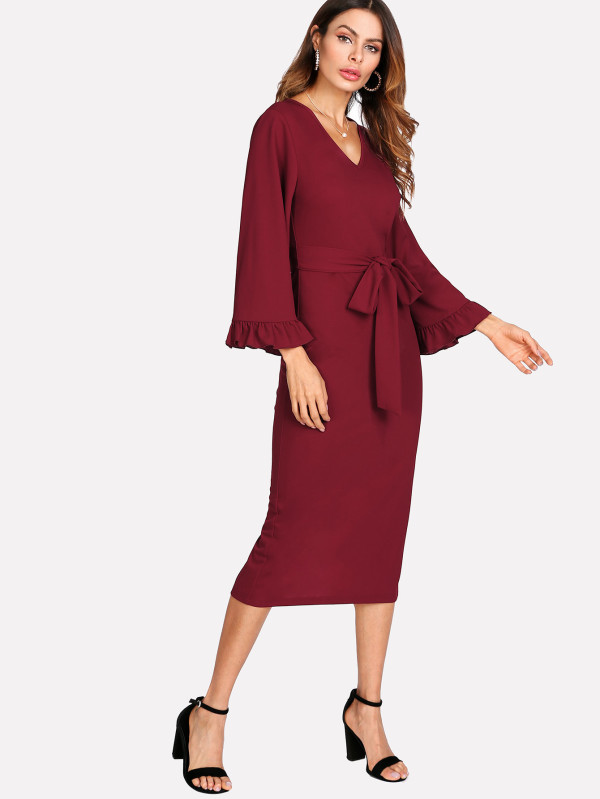 Long Sleeves Women Career Business Wear Dress
