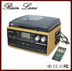 Rain Lane Multiple Function Double CD USD SD Wooden Gramophone Bluetooth Vinyl Double Cassette Player