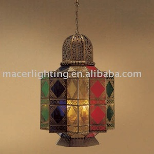 2018 LDE pandent with tiffany glass lamp Arabic small chandelier pendant lamp with colour glass