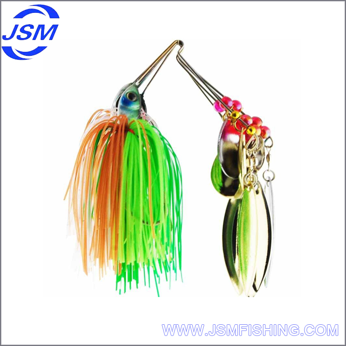 spinner baits trolling lure skirts with double blade and jig head