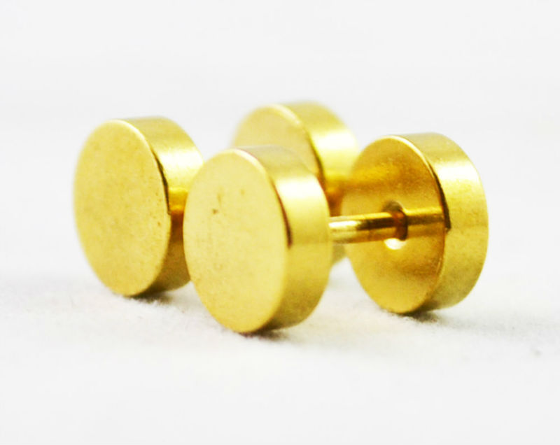 2pcs Barbell Plated Gold Earrings For Men Women Round Earring Stainless Steel Studs E70