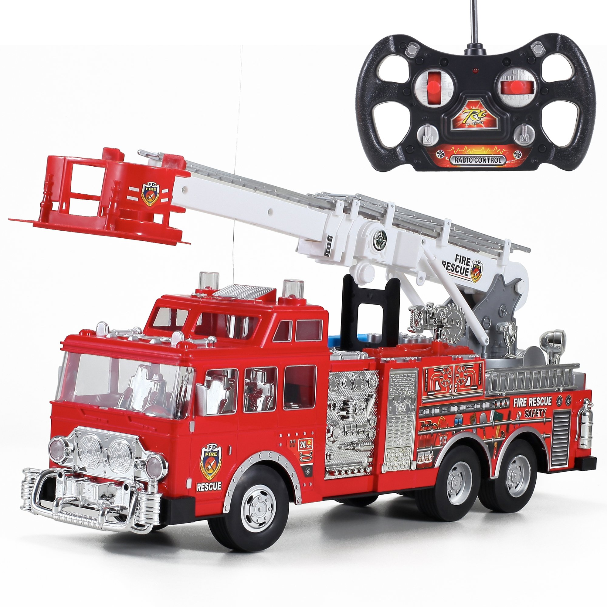 "Liberty Imports 20"" Jumbo R/C Rescue Fire Engine Truck Remote Control Toy with Ladder"
