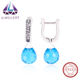Anniversary Elegant 925 Sterling Silver Earring With Pendant Big Blue Stone Silver Earring Charms