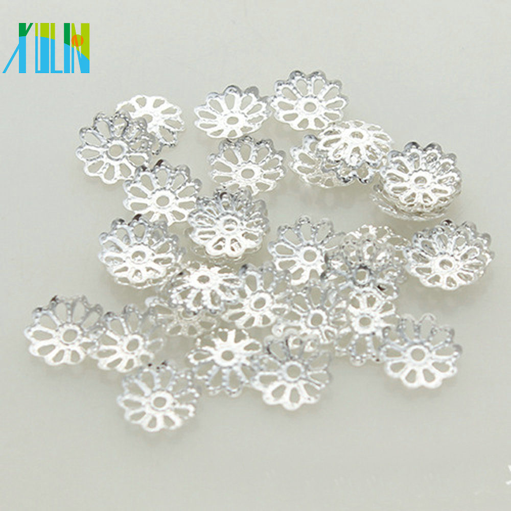 XULIN 925 Silver Filigree 4mm Bead Caps in flower BC019#