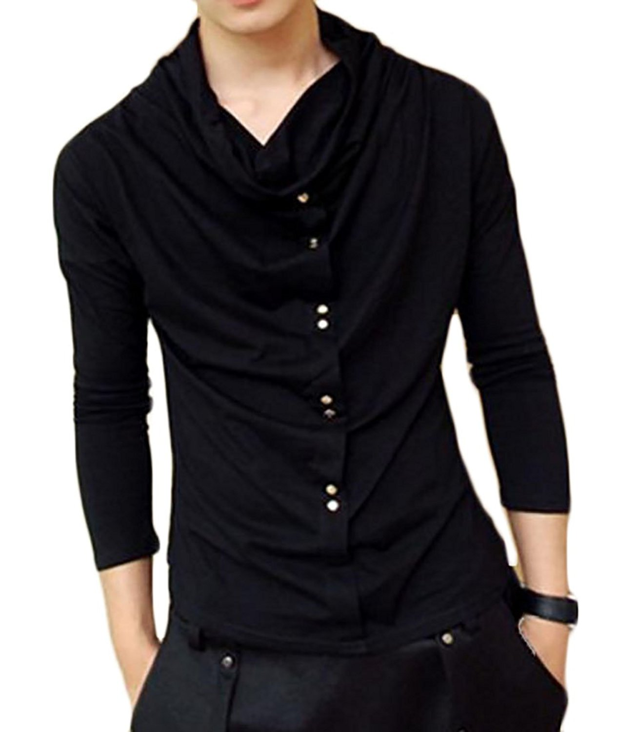 ONTBYB Mens Hipster Turtleneck Cowl Collar Slim Pullover Thermal Sweater Top