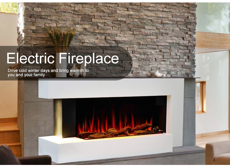 New Design 24 Hours Timer Luxury Electric Fireplace Wall Mounted