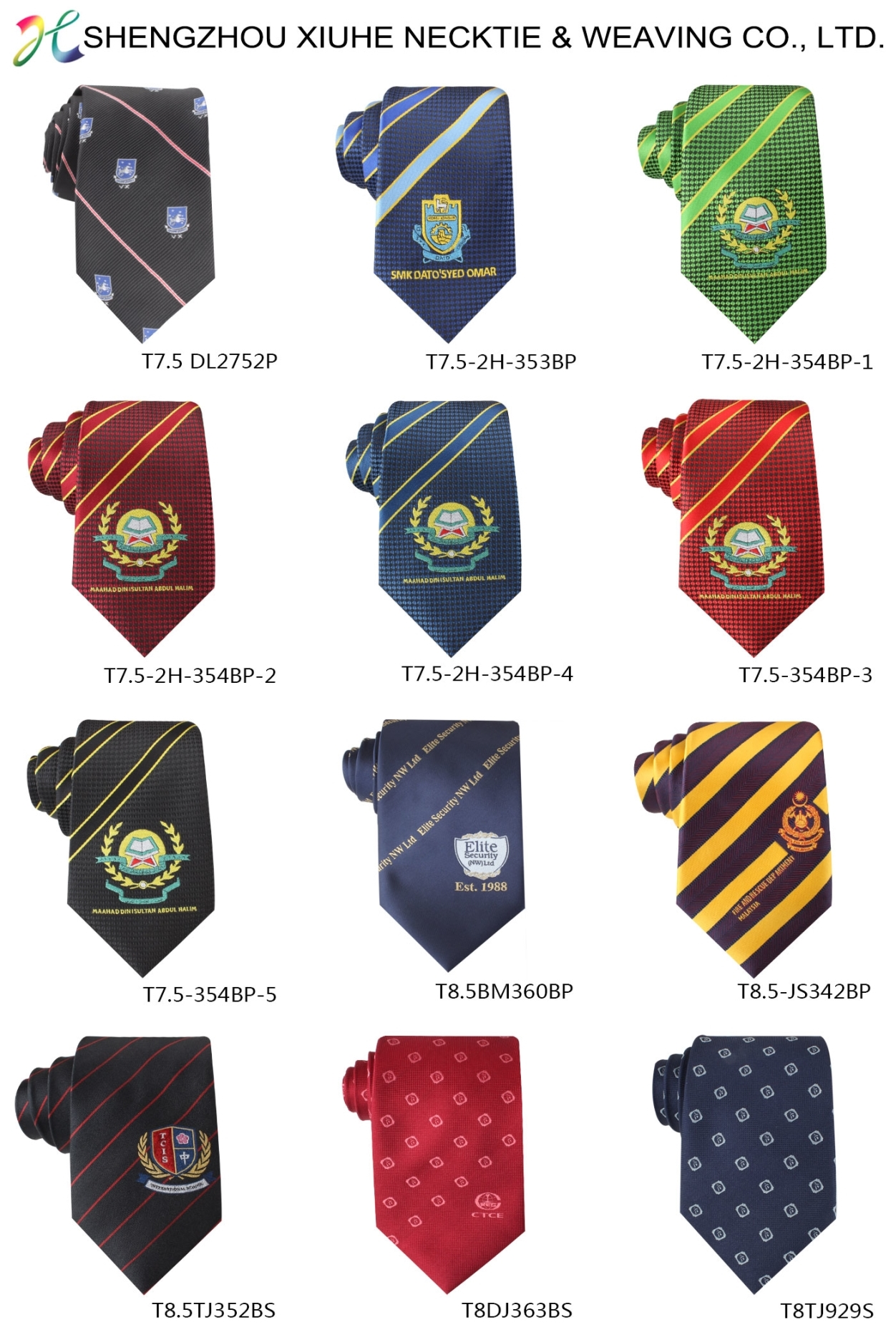 High Visibility Polyester Woven Print Chambray Neckties Company Logo Ties for Custom