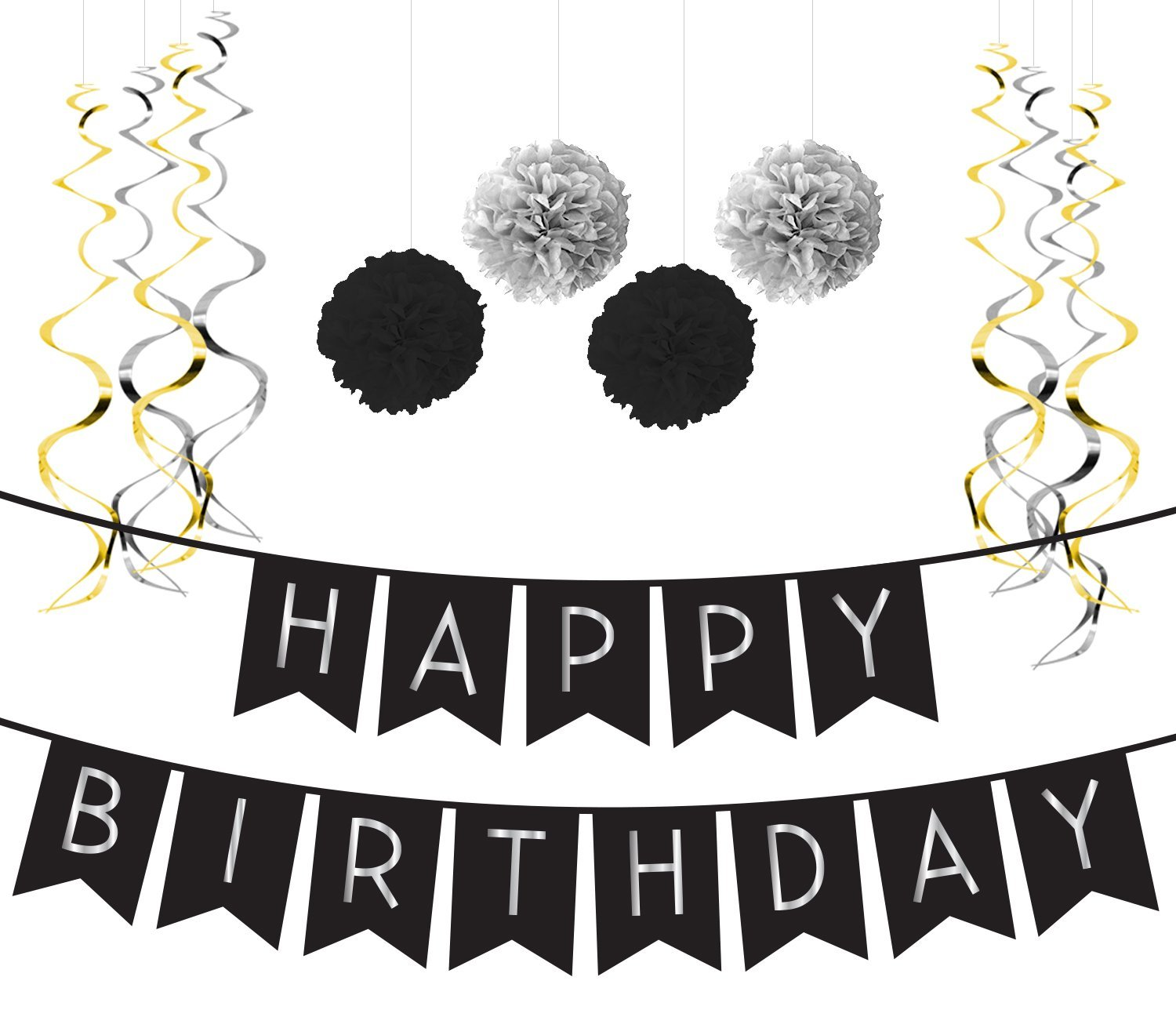 Get Quotations Birthday Party Pack Black Silver Happy Bunting Poms And Swirls
