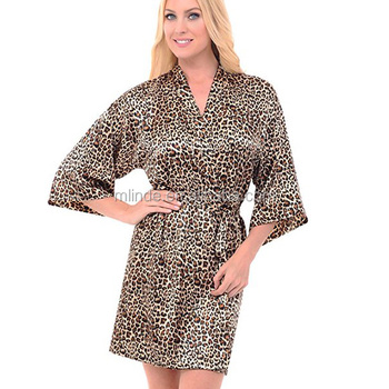 a67d51a69e88 Chic Leopard Printed Sleep Dress For Sexy Ladies Satin Kimono Robe  Mid-Length Dress Gown