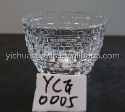 Round brightly clear glass apple shape bowl