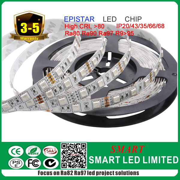 RGB led strip, high lumen with high CRI, all certs listed with 5 years warranty