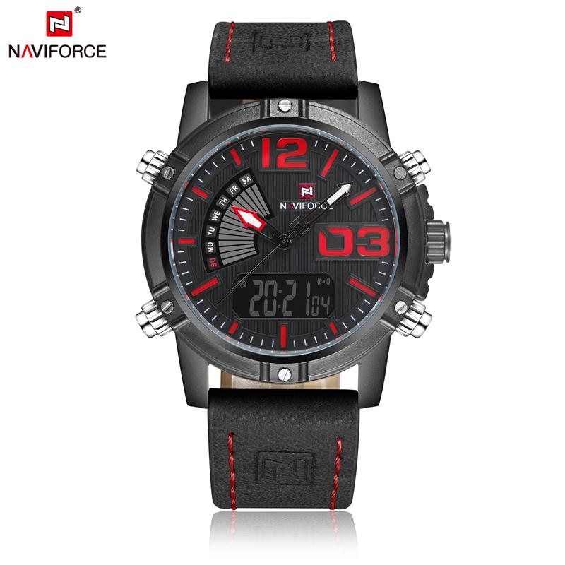 Naviforce 9095 Watches Brand Luxury Analog Digital Male Led Clock Military Leather Sport Quartz Men Wrist Watches relojes hombre фото