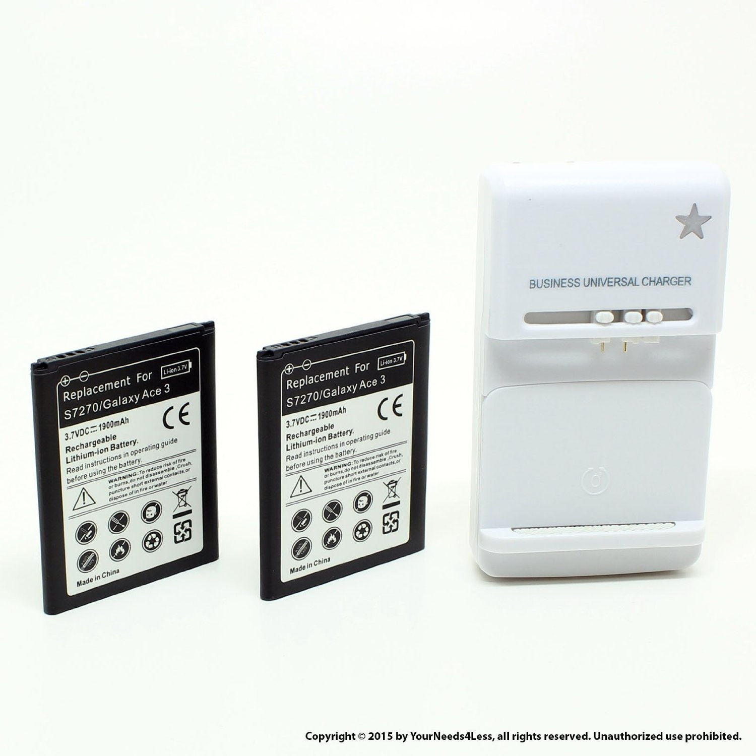 YN4L 2 X 1900mAh Replacement Batteries for Samsung Galaxy Exhibit SGH T599 (T-Mobile) ; SGH T599N (MetroPCS) + Wall Dock Charger Bundle