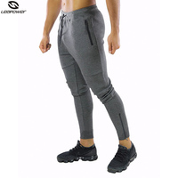 Custom Newest Workout Fitness Zipper Sweatpants Tapered Slim Fit Gym Cotton Jogger pants Men