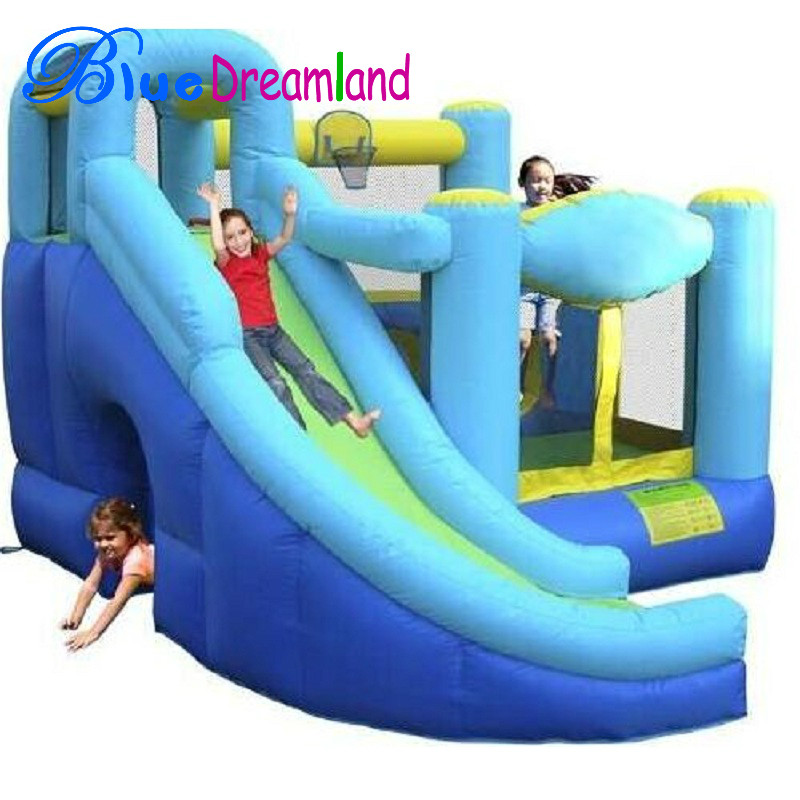 Own factory kids happy top inflatable slide indoor in long life