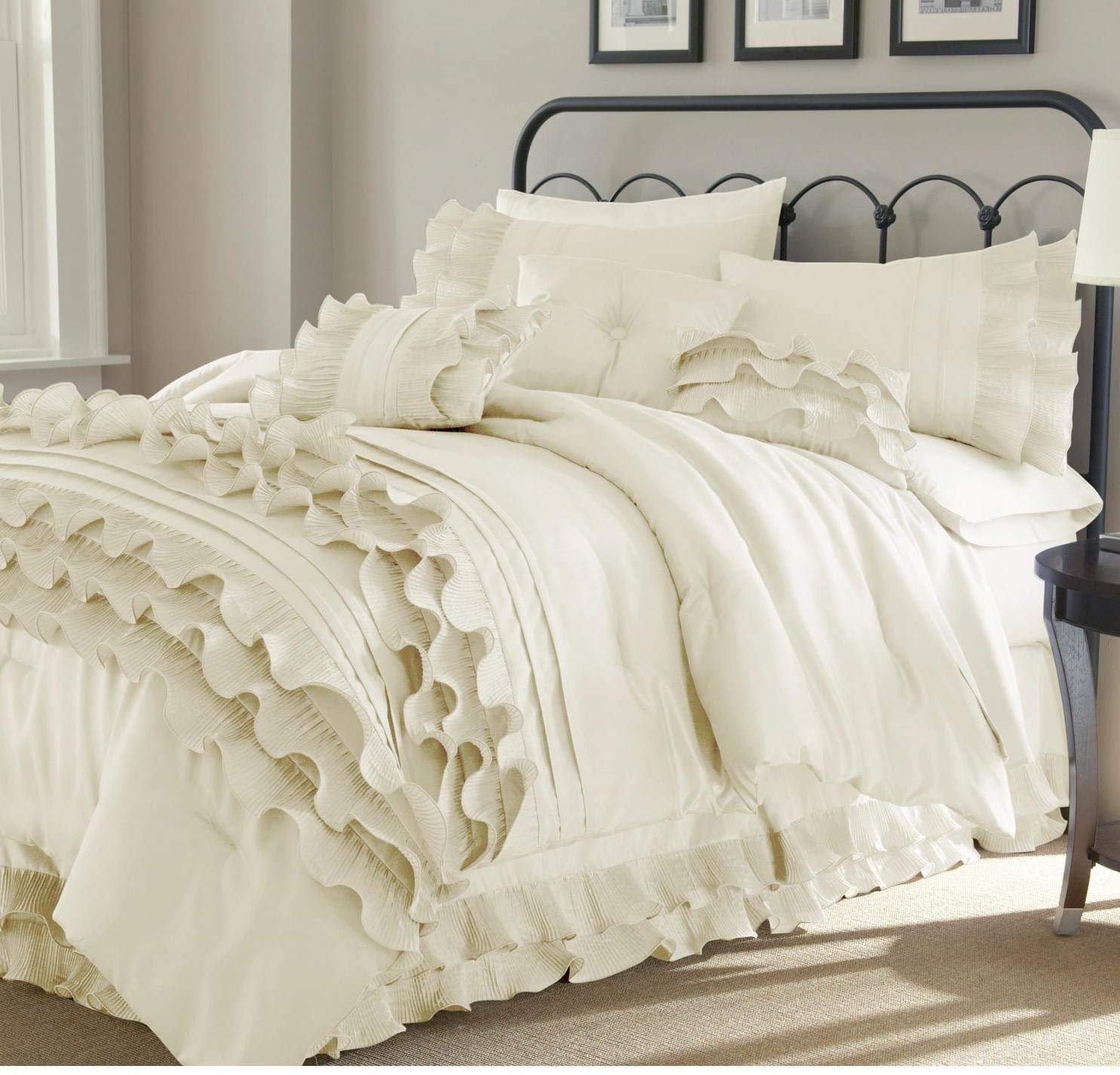 8 Piece Pearl White Ruffled Stripes Pattern Comforter King Set, for Luxury Modern Bedrooms, Beautiful Shabby Chic Ruffles Lines Design, Classic French Country Style, Neutral Solid Color, Unisex