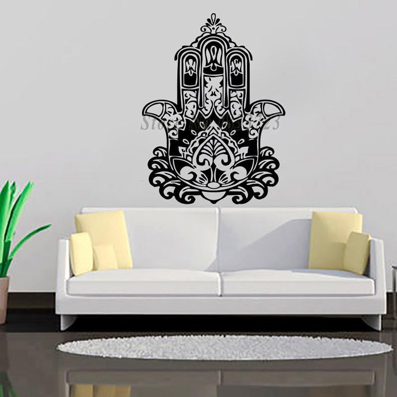 Creative Wall Stickers Home Decor Indian Buddha Lotus Hamsa Hand Wall Decals Vinyl Art Living Room