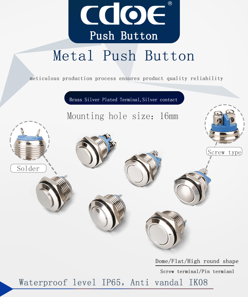 16mm 1NO momentary edelstahl metall taste schalter, metall anti vandalismus push button switch
