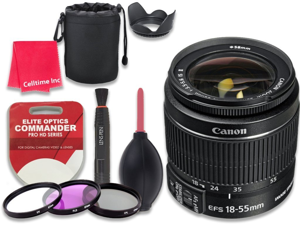 Canon EF-S 18–55mm f/3.5–5.6 IS II Lens - International Version + Accessory Kit w/ Celltime Cleaning Cloth